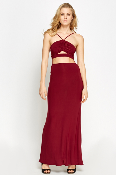 2 In 1 Burgundy Maxi Dress