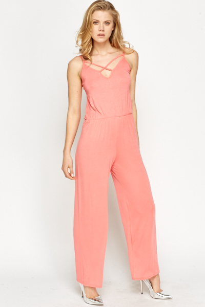 Coral Strappy Jumpsuit