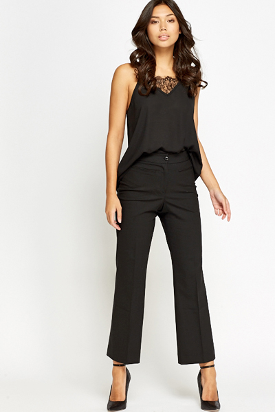 High Waisted Wide Leg Formal Trousers