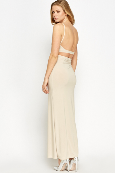 2 in 1 Light Beige Maxi Dress