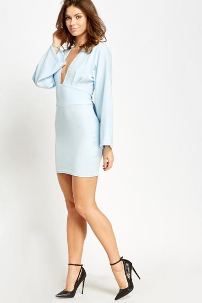 47383772f6b4 Light Blue Plunge Bodycon Dress - Just £5