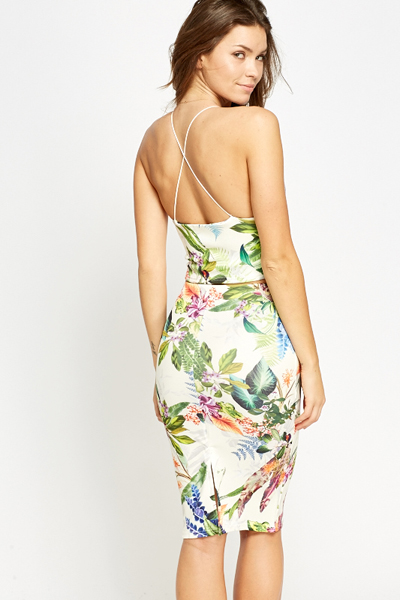 Tropical Floral Crop Top And Skirt Set