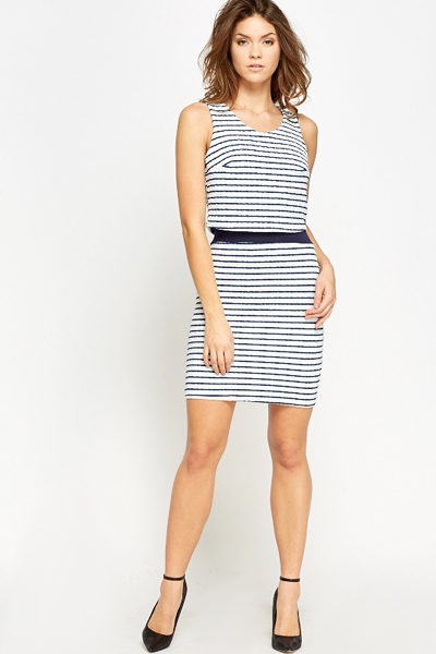 White Striped Overlay Dress