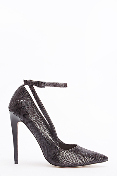 Black Textured Sandal Heel