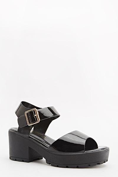 Chunky Black Patent Sandals