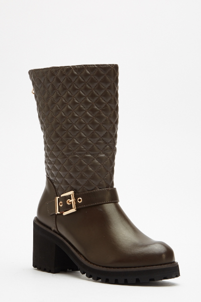 Contrast Zip Back Quilted Boots
