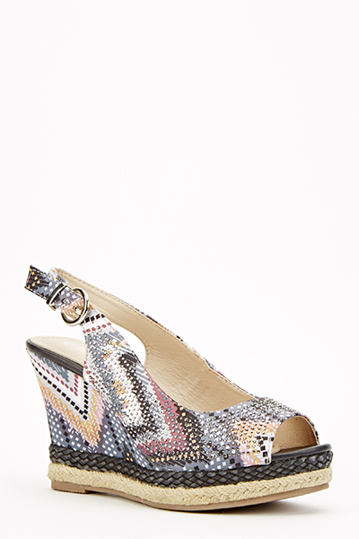 Espadrille Trim Sling Back Wedges