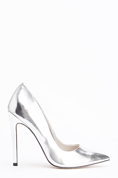 Metallic Silver High Pointed Heels - Just £5