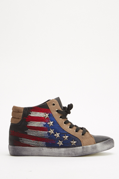 Studded Stars Stripe Contrast Trainers