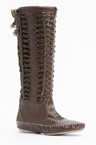 Woven Faux Leather Boots