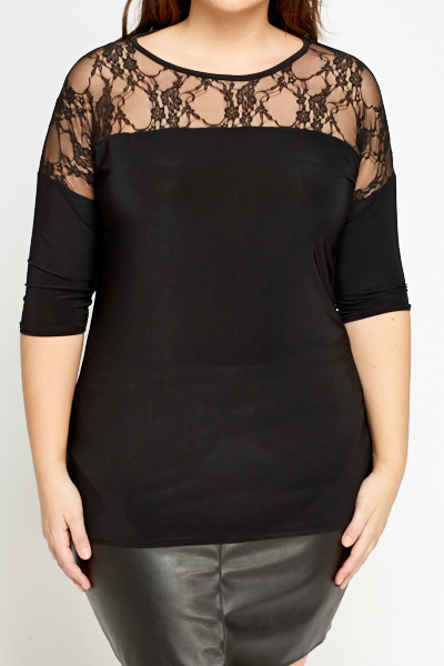 Black Lace Insert Top