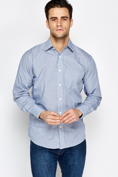 Blue Formal Checked Shirt