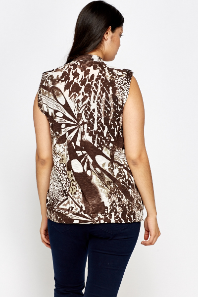 Brown Printed Button Front Top