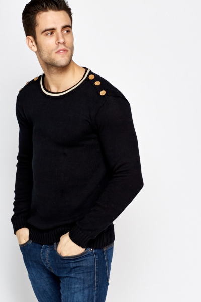 Button Shoulder Knitted Jumper Just 163 5