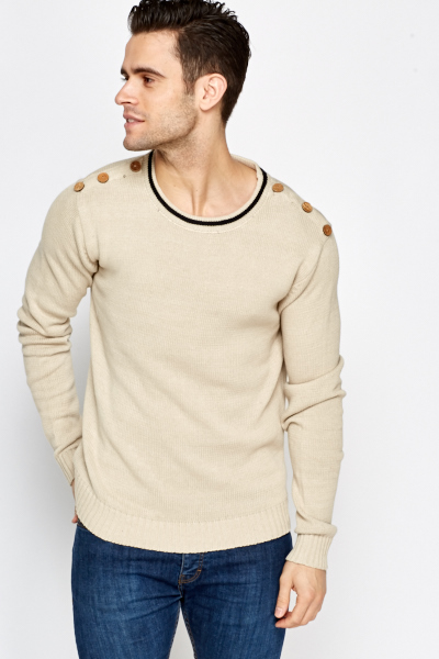 Button Shoulder Knitted Jumper
