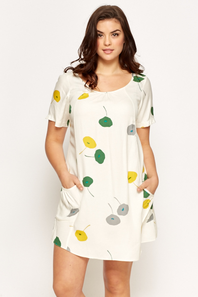 Cream Contrast Floral Dress