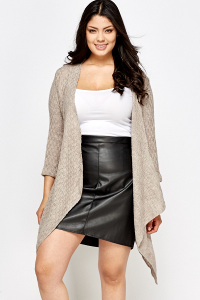 Knitted Asymmetric Open Front Cardigan