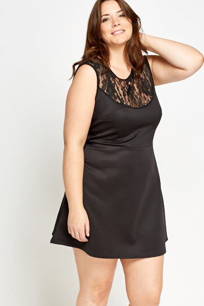 Lace Yoke Skater Black Dress