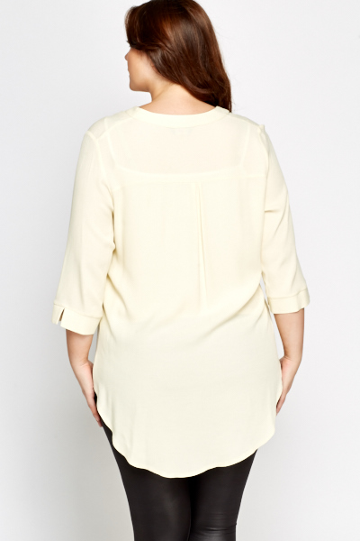 Light Yellow Dipped Hem Blouse