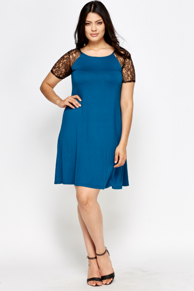Teal Lace Sleeve Swing Dress