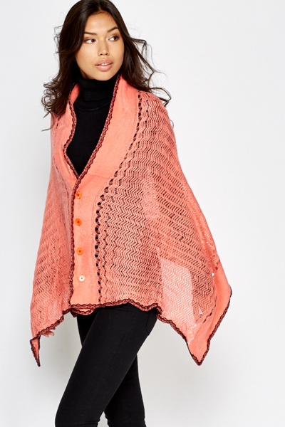 Coral Loose Knit Button Front Poncho