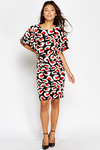 Flared Sleeve Pencil Dress