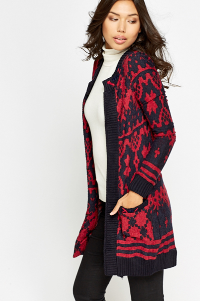 Geo Print Knitted Cardigan