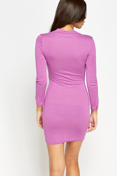 High Neck Cut Front Bodycon Dress