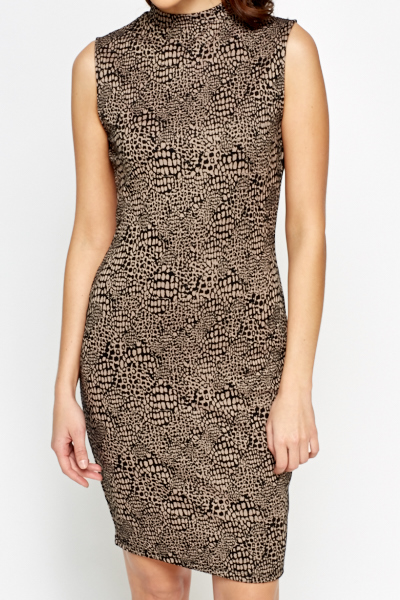 High Neck Mix Print Bodycon Dress