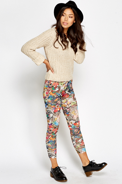 Mixed Graphic Print Leggings