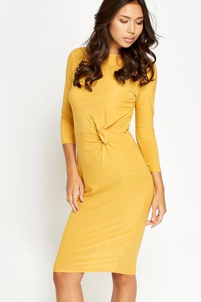 786269e563f6 Mustard Knot Bodycon Dress - Just £5