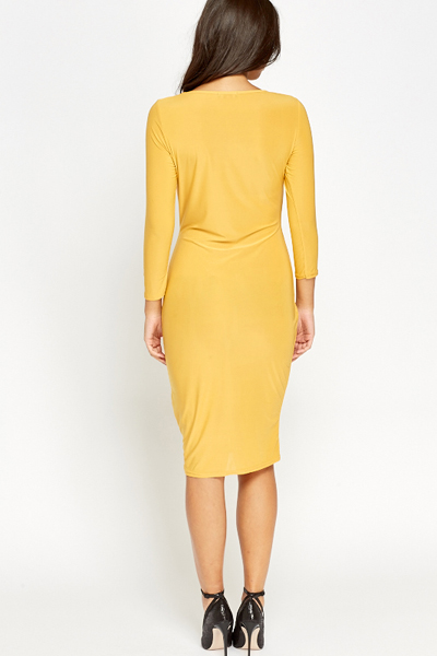 Mustard Knot Bodycon Dress