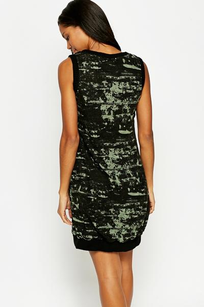 Sleeveless Printed Tunic Dress Black Green Just 163 5