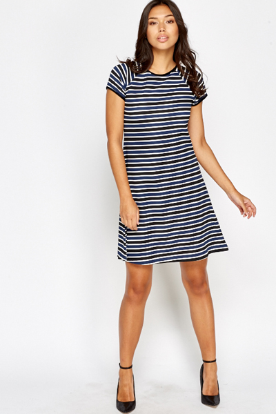 Textured Striped Swing Dress