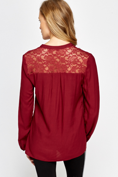 Trillium Maura Burgundy Crisscross Lace Top