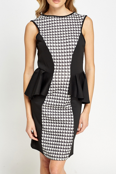 Houndstooth Panel Peplum Dress