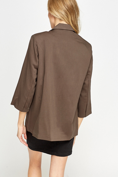 Lapel Front Middle Brown Blazer