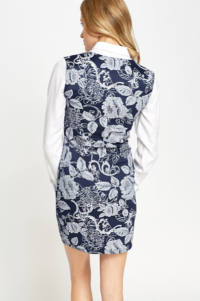 Navy Floral Bodycon Dress