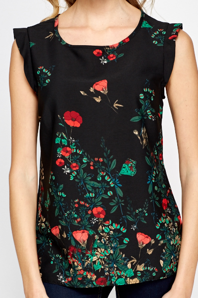 Poppy Print Sleeveless Blouse