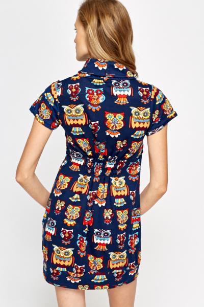 Roll Neck Multi Owl Printed Dress