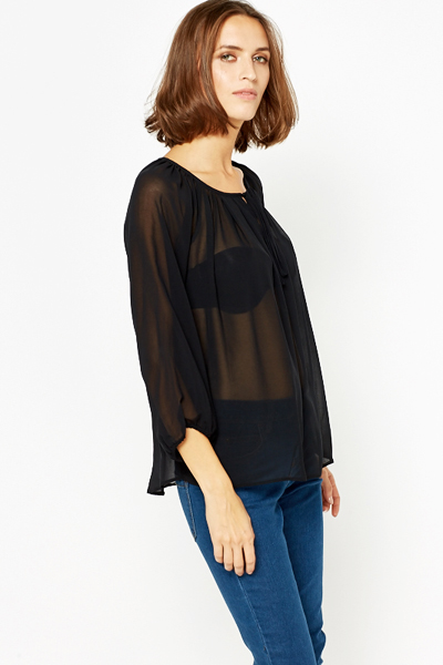 Shirred Black Blouse
