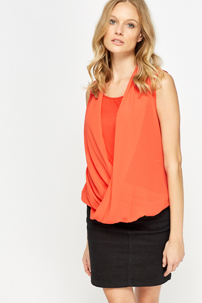 Sleeveless Wrap Front Blouse