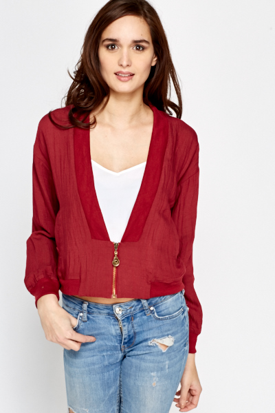 Low Neck Casual Bomber Jacket