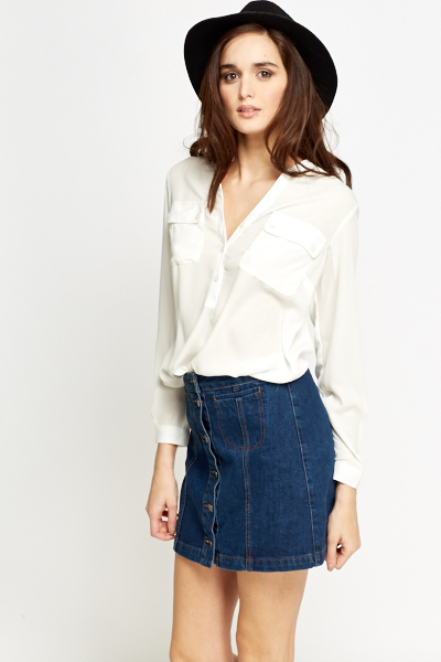 7e7db8aa Off White Sheer Blouse - Just £5