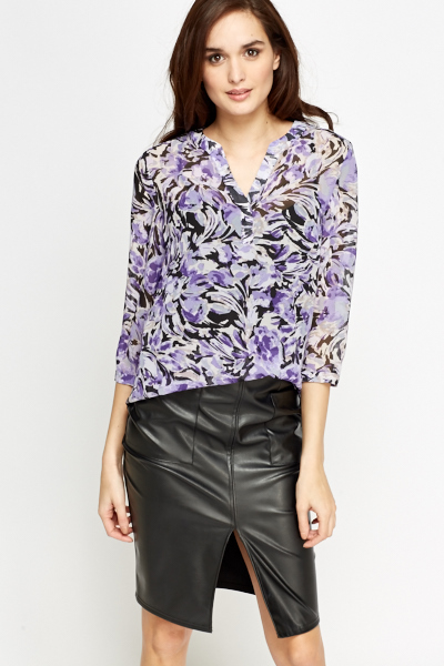 Purple Floral Brush Blouse