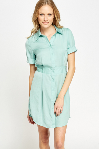 Silky Casual Shirt Dress