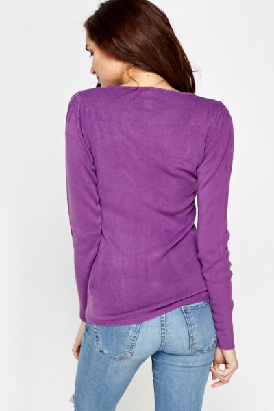 V-Neck Button Detail Knit Top