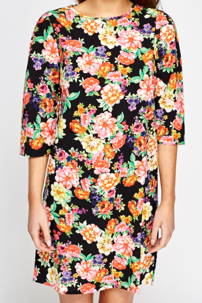 Cropped Sleeve Floral Shift Dress