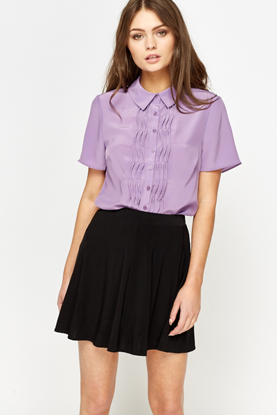 Lilac Ruffle Front Blouse Just 5