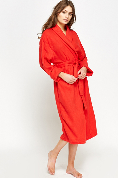 Long Fleece Dressing Gown Just 5